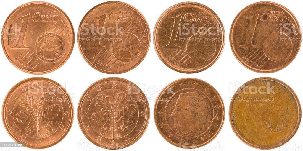 Europäischen 1centmünzen Isoliert Auf Weißem Hintergrund Stock