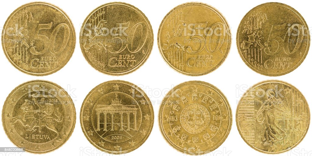 European 50 Cent Coins (front and back) isolated on white background stock photo