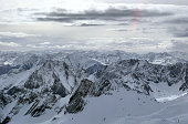 Photo of the German and Austrian alps seen from the highest German / Austria mountain Zugspitze