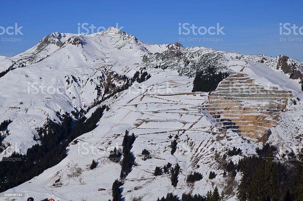 European Alps. Quarry at winter time stock photo