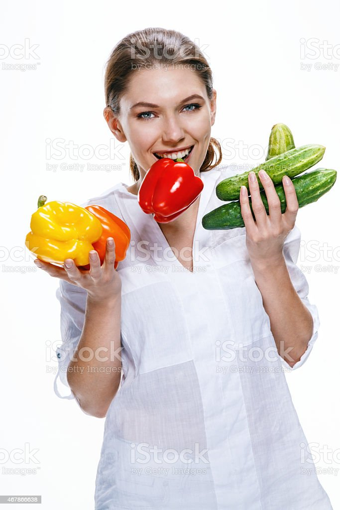 European appearance promotes a healthy lifestyle by eating health food stock photo