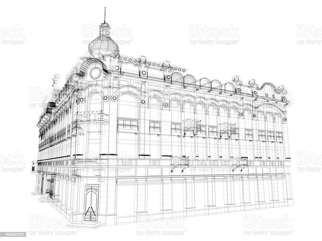 european architecture Blueprint royalty-free stock photo