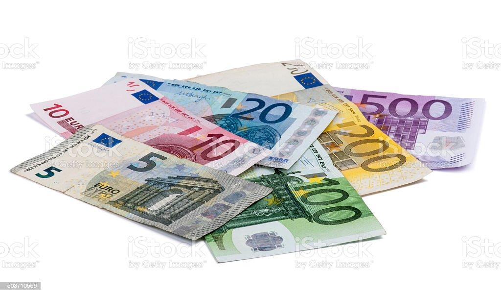 Europäischer Banknoten isoliert auf weißem Hintergrund – Foto