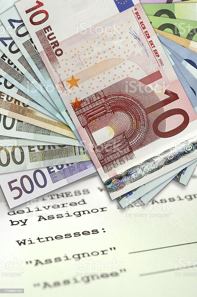 European banknotes on mortgage document royalty-free stock photo