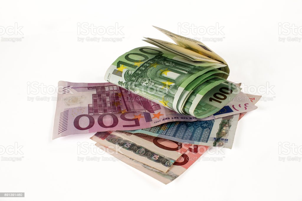 Billets européens sur fond blanc - Photo