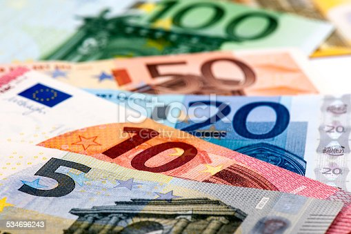 European Banknotes on white background. Focus on front.