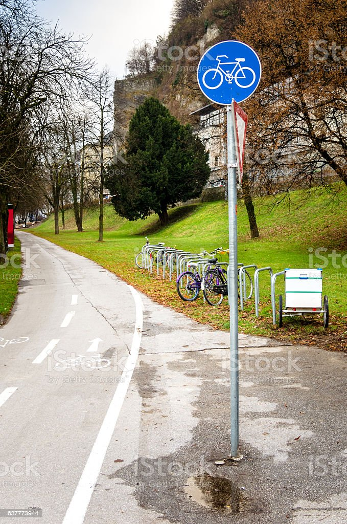 European Blue Traffic Sign at the Beginning of a Path stock photo