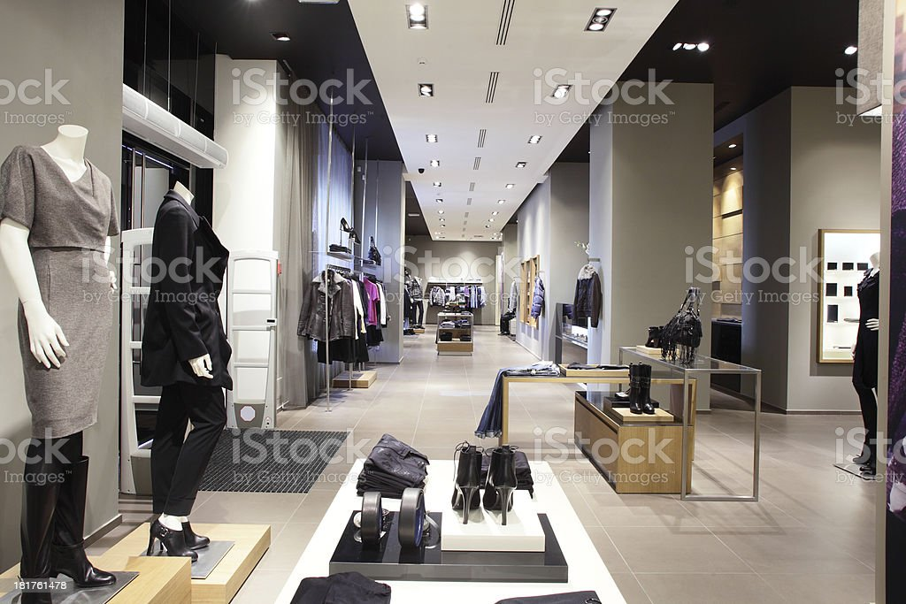 european brand new clothes shop stock photo