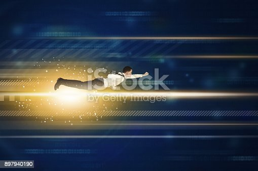 513396643 istock photo European businessman flying inside code binary 897940190
