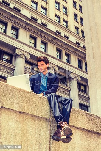 istock European businessman traveling, working in New York 1073432948