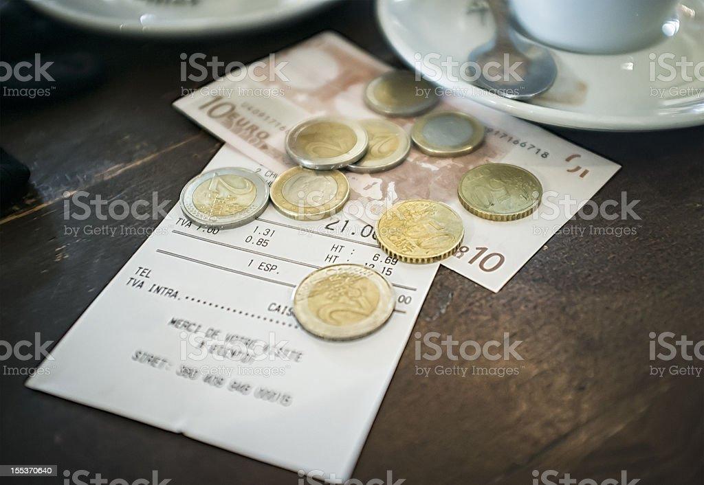 European Cafe Bill royalty-free stock photo