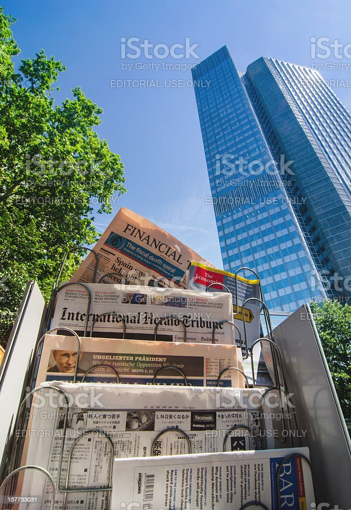 European Central Bank and International Press on the Financial Crisis stock photo