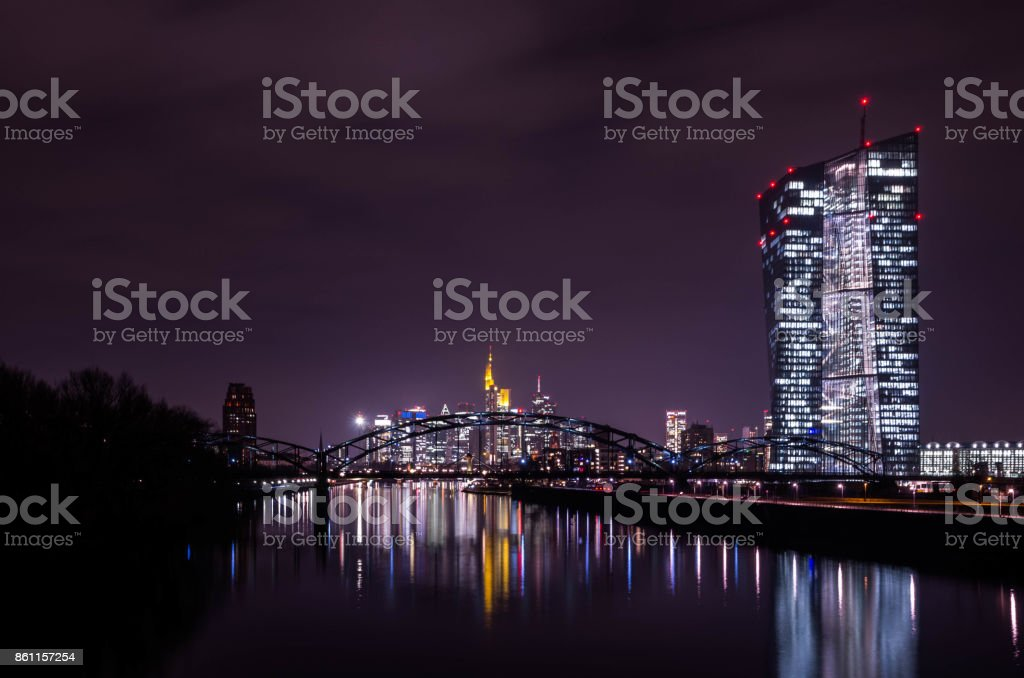 European Central bank and skyline in Frankfurt am Main, Germany stock photo