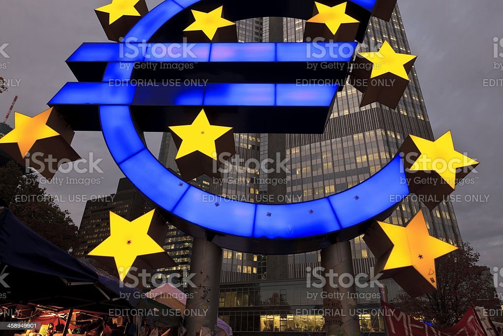 European Central Bank at dusk stock photo
