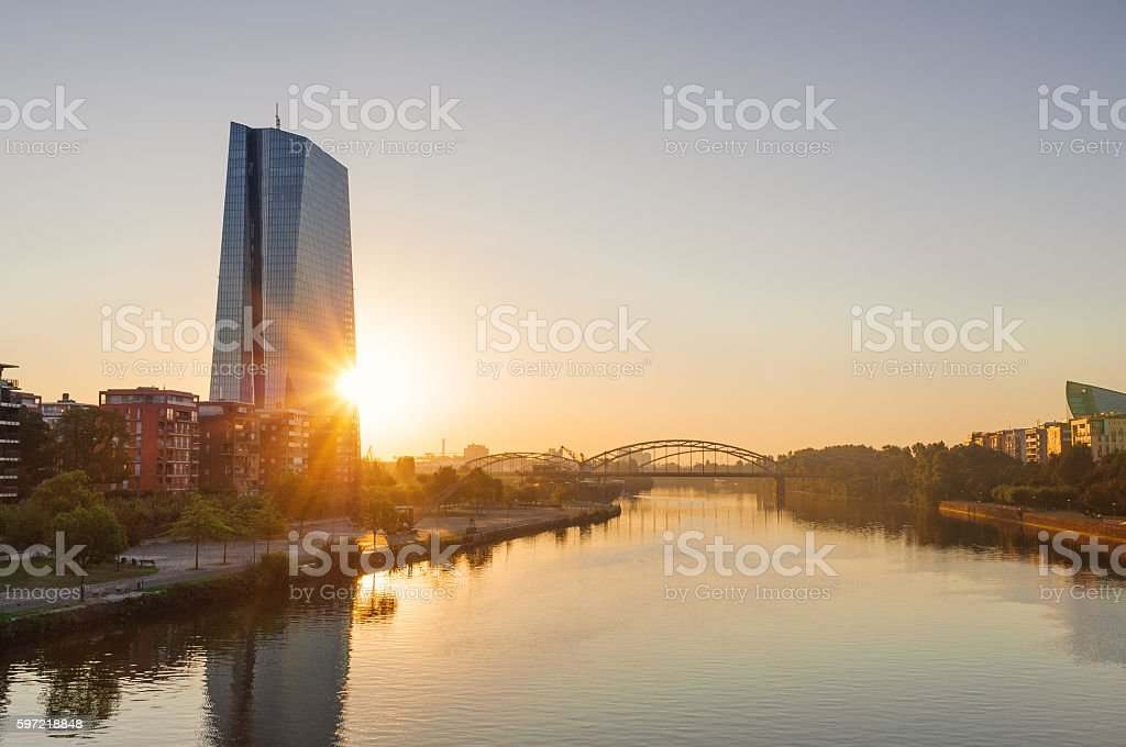 European Central Bank building during sunrise stock photo