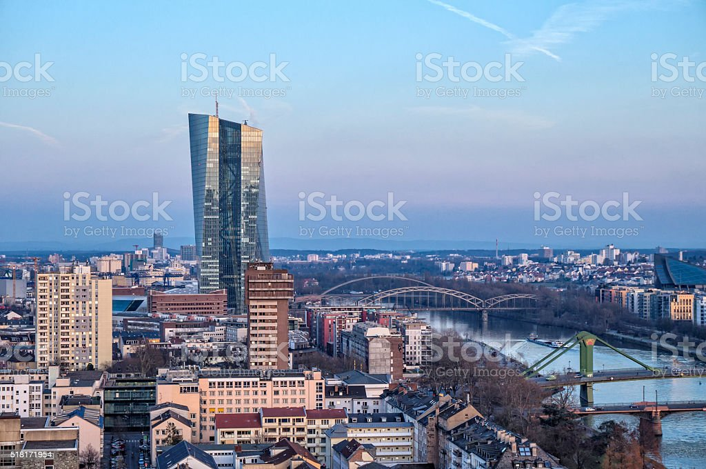 European Central Bank in Frankfurt stock photo