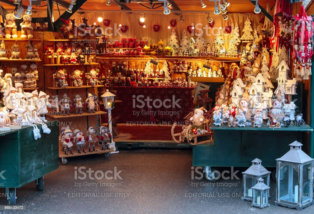 European Christmas market stall with different gifts stock photo