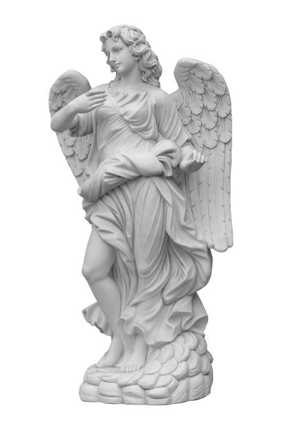 ヨーロッパの教会翼の天使の彫刻、psパスマップ - 像 ストックフォトと画像