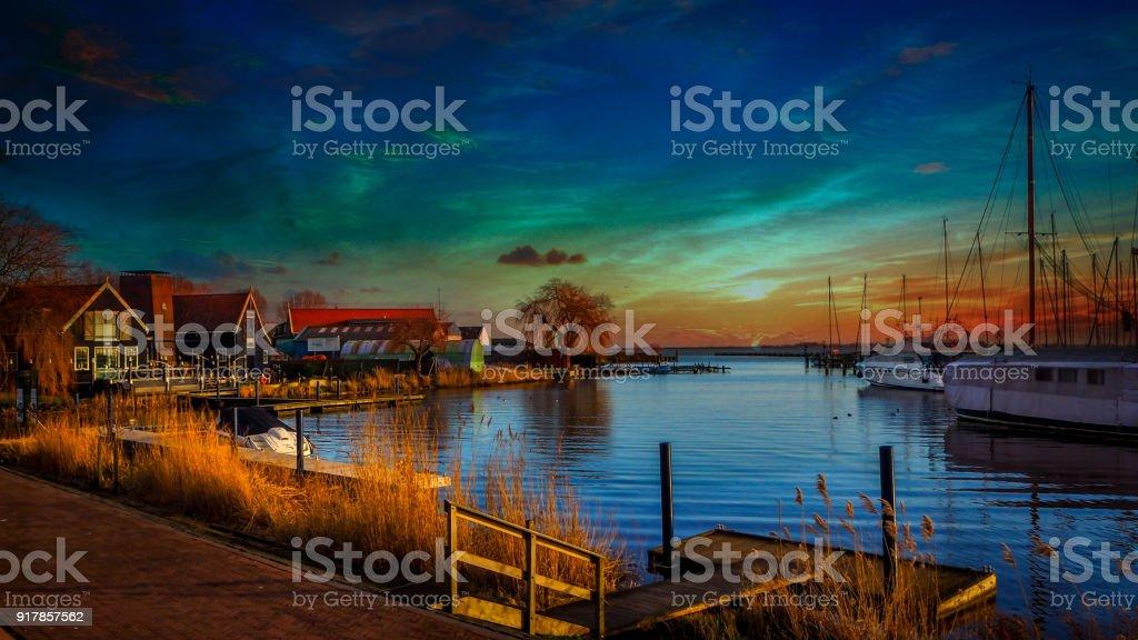 European Cities - Holland Amsterdam Volendam city on a cloudy beautiful sunset stock photo