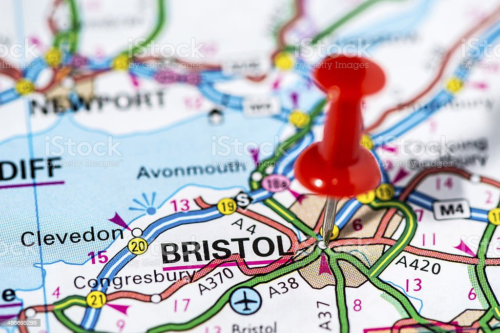 European cities on map series: Bristol stock photo