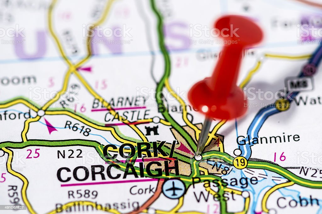 European cities on map series: Cork stock photo