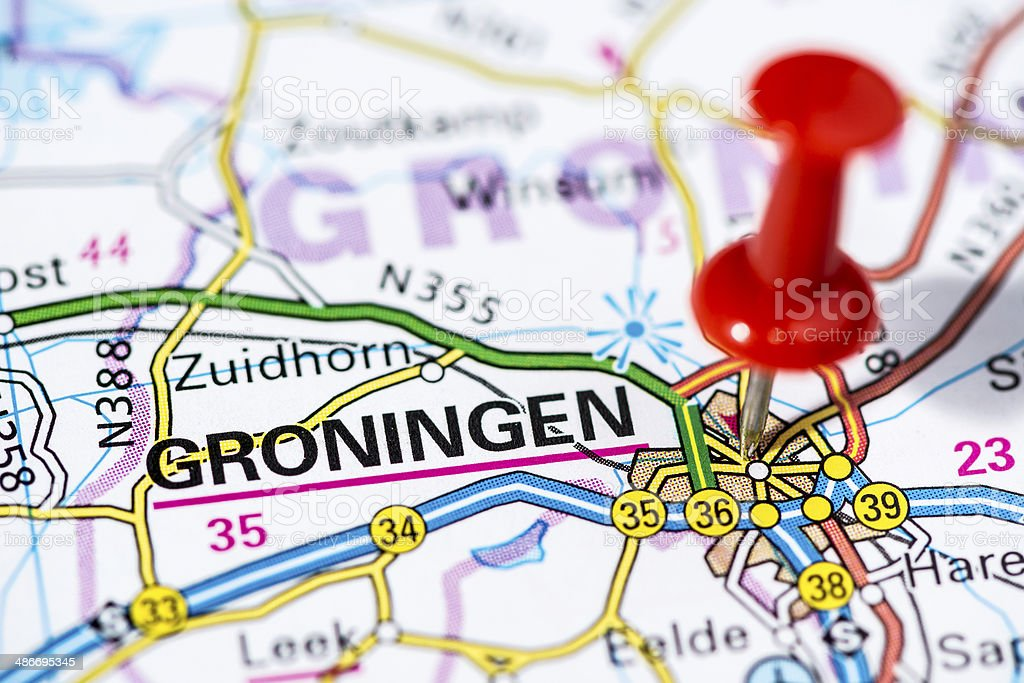 European Cities On Map Series Groningen Stock Photo & More Pictures ...