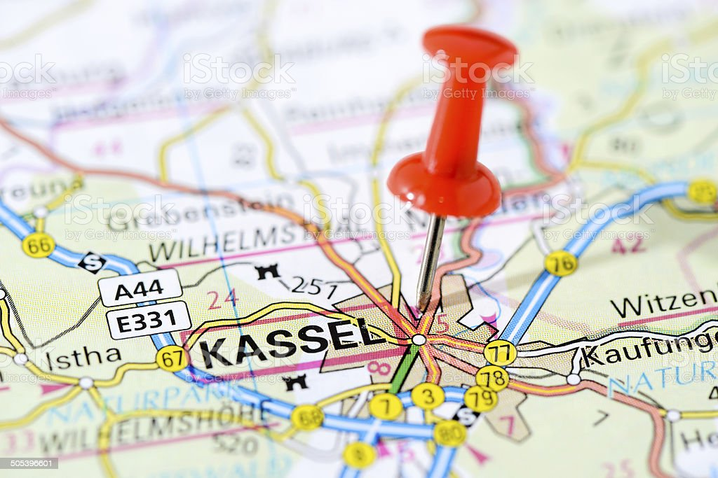 European cities on map series: Kassel royalty-free stock photo