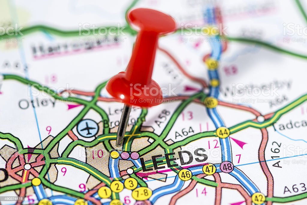 European cities on map series: Leeds royalty-free stock photo