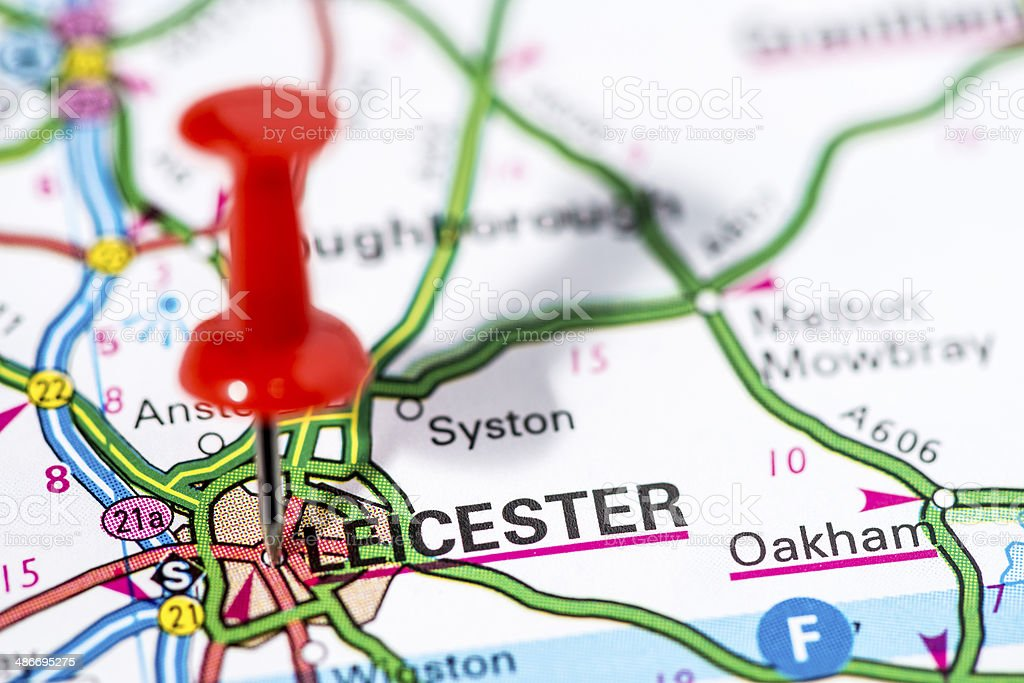 European cities on map series: Leicester royalty-free stock photo