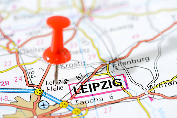 european cities on map series: leipzig - germany map leipzig bildbanksfoton och bilder