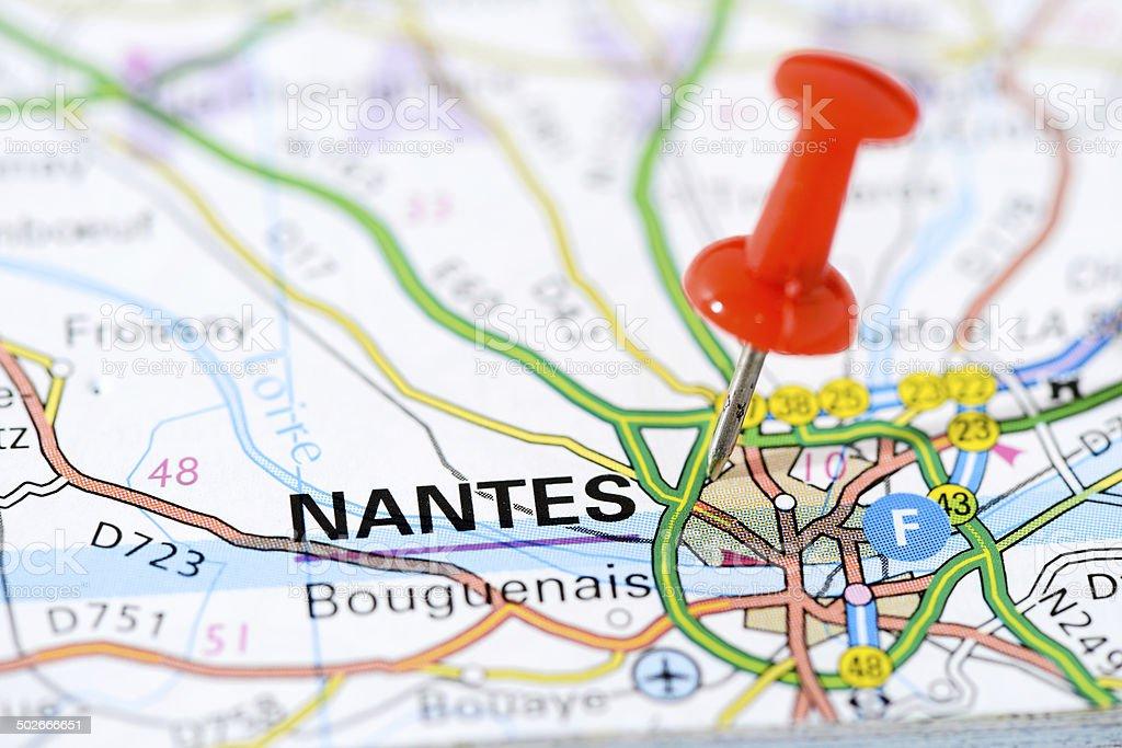 Nantes Karte.Europäischen Städten Auf Karteserie Nantes Stockfoto Und Mehr Bilder