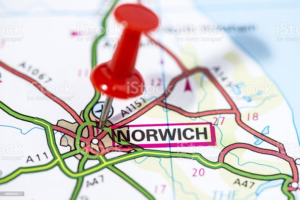 Carte Angleterre Norwich.Photo De Stock De Villes Europeennes Sur Le Plan Series Norwich