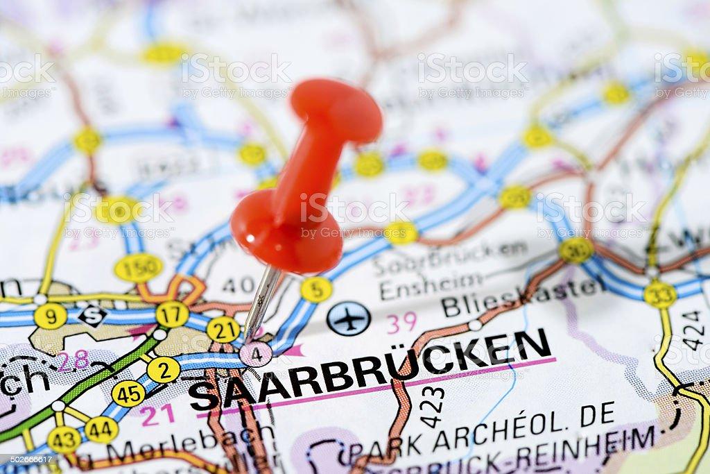 European Cities On Map Series Saarbrucken stock photo iStock