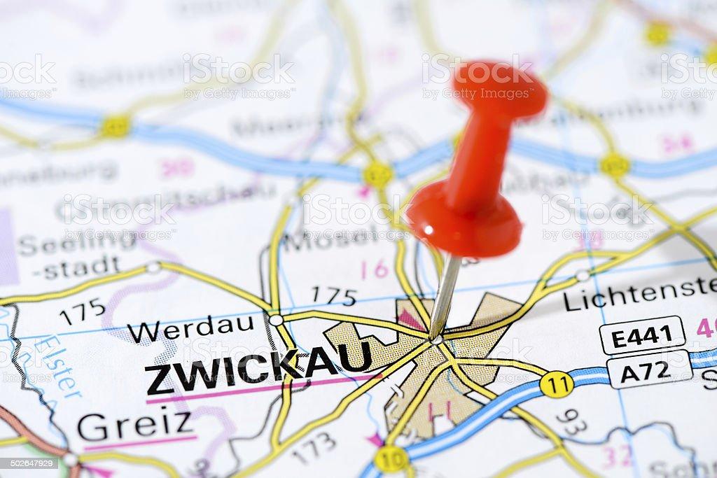 Zwickau Karte.Europäischen Städten Auf Karteserie Zwickau Stockfoto Und Mehr