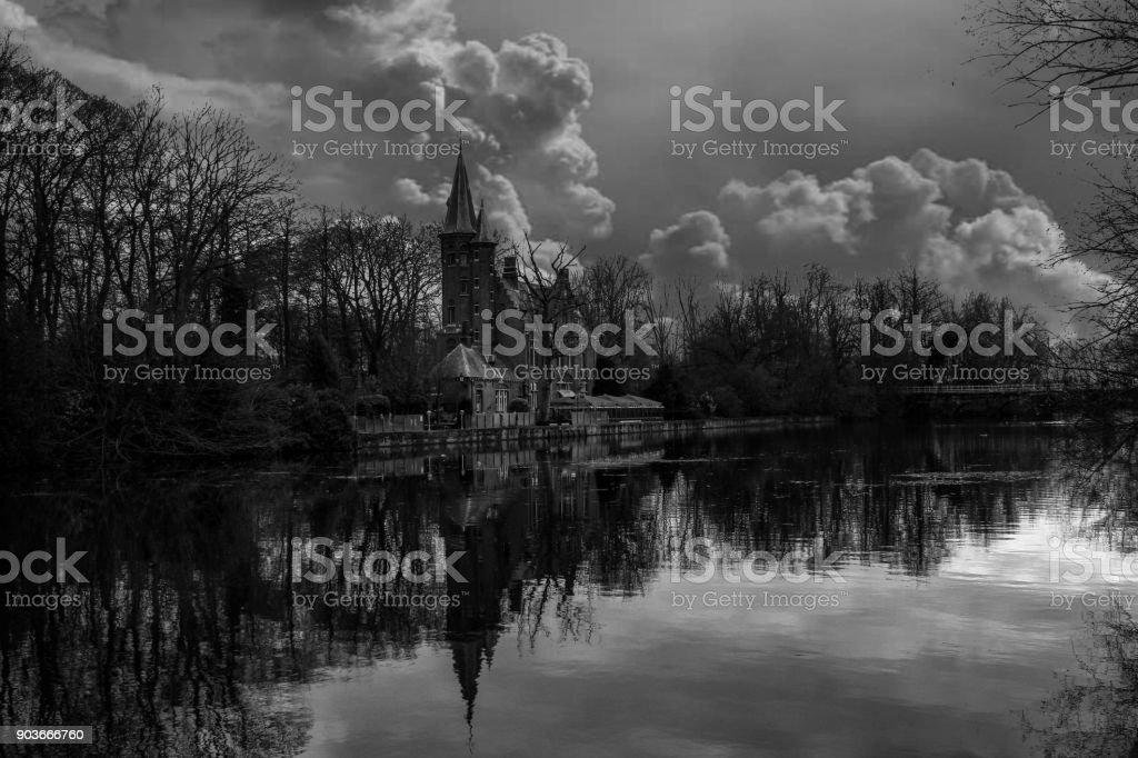 European City - Bruges Lake Landscape stock photo
