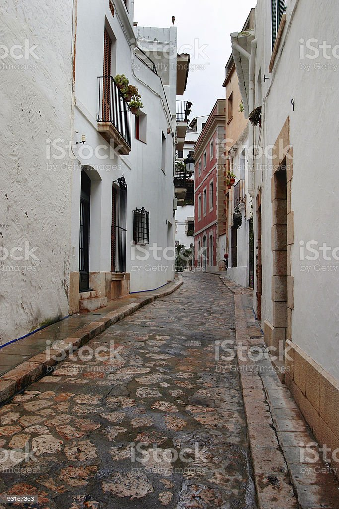 European Cobblestone Street Spain royalty-free stock photo