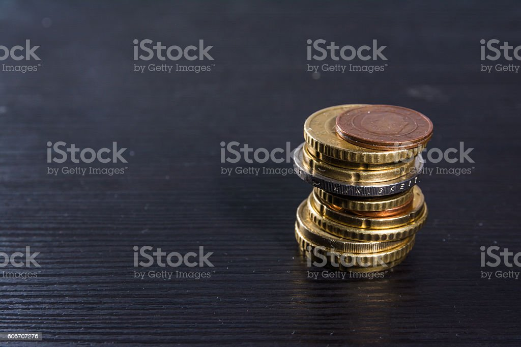 Groovy European Coins Euros Stack Metal Colors Currency Desk Black Home Remodeling Inspirations Basidirectenergyitoicom