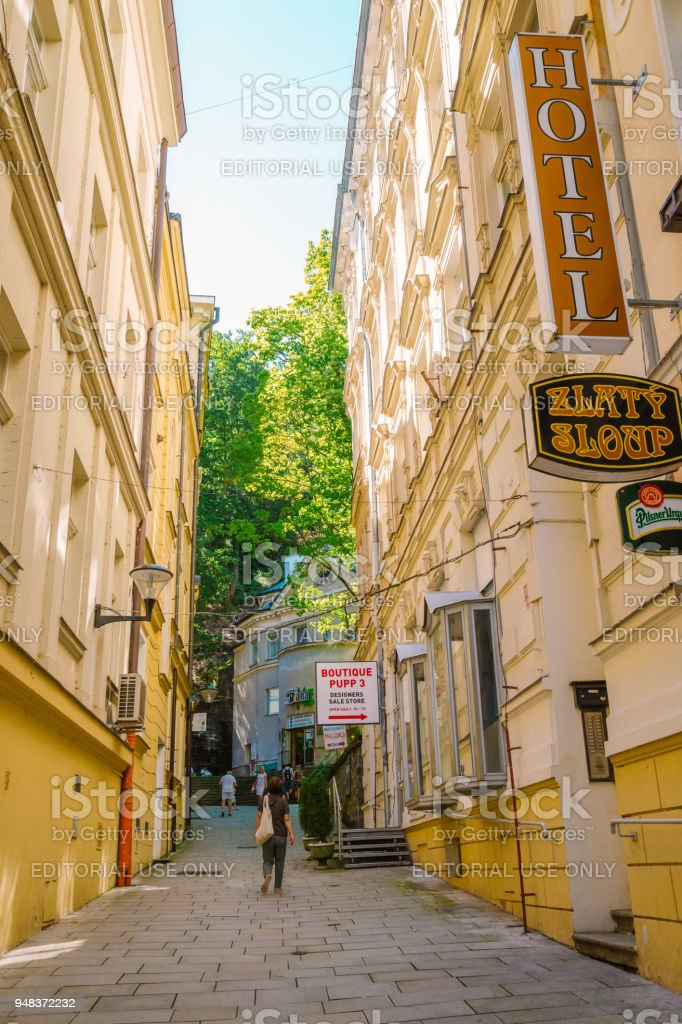 European colorful buildings and Diana funicular railway in Karlovy Vary, Czech stock photo