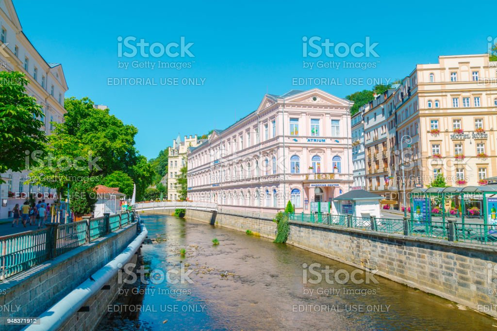 European colorful buildings and river in Karlovy Vary, Czech stock photo