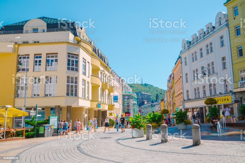 European colorful buildings and street in Karlovy Vary, Czech stock photo