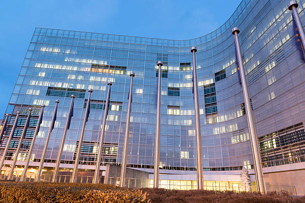 """European Commission Building """"European Commission Schulman Building, Brussels."""" european commission stock pictures, royalty-free photos & images"""