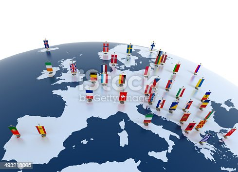 istock european continent marked with flags 493218065