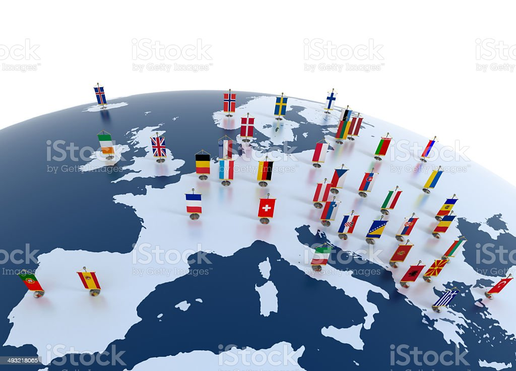 european continent marked with flags stock photo