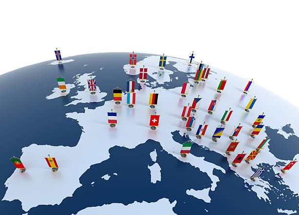 european continent marked with flags - continent geographic area stock photos and pictures