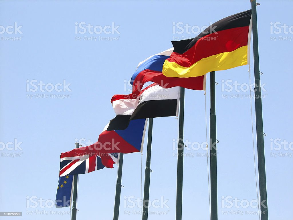 european countries and egyptian flags royalty-free stock photo