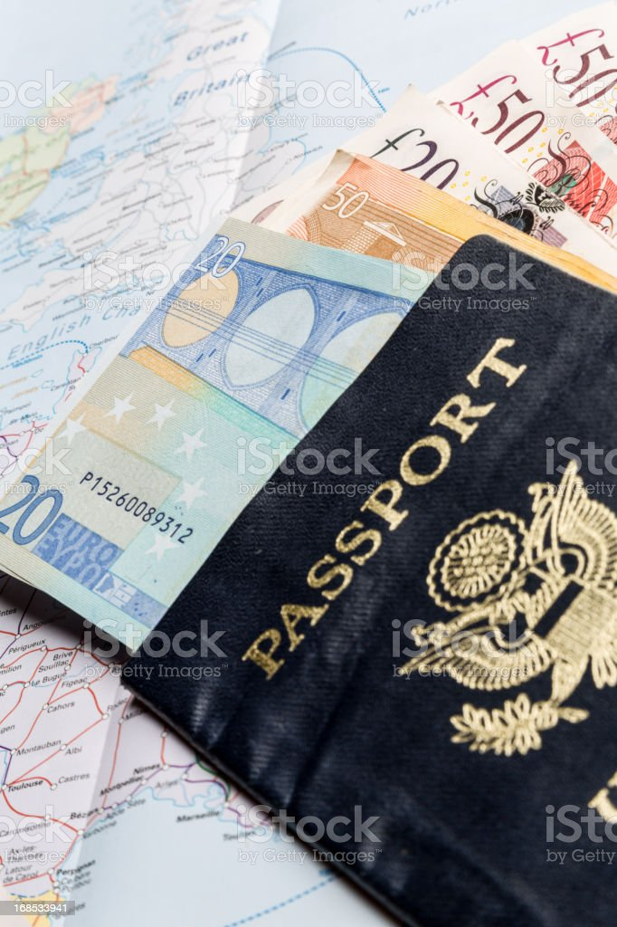 European Currency, American Passport and Map stock photo