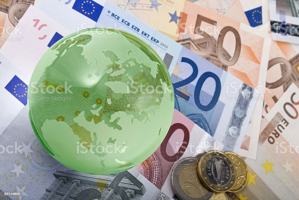 European currency and globe royalty-free stock photo
