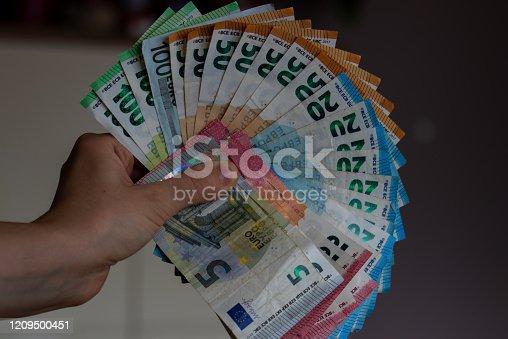 Europäische Währung- Banknoten, Scheine und Münzen