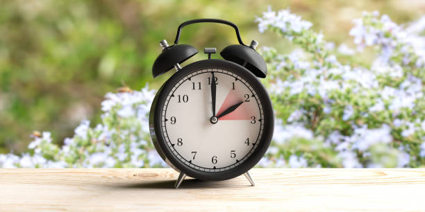 European daylight saving time. Alarm clock on wooden desk, blur spring nature background. 3d illustration European daylight saving time end. Alarm clock on wooden desk, blur spring nature background, copy space. 3d illustration time zone stock pictures, royalty-free photos & images