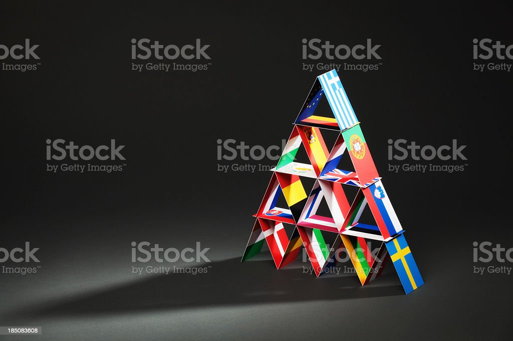 European Debt Crisis House of Cards Hz stock photo